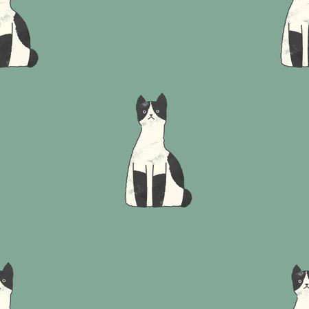 A seamless pattern of tabby cats. Fabric design. Seamless wallpaper artwork.