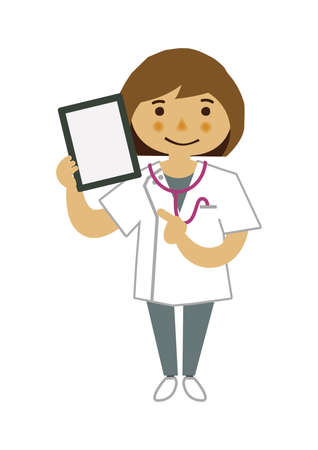Illustration material of a female nurse.  Illustration of occupation. Clip art of female nurse. A medical Illustration materials. Vectores