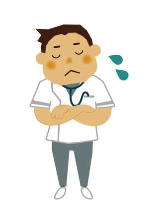 Illustration material of a male nurse.  Illustration of occupation. Clip art of male nurse. A medical Illustration materials. Vectores