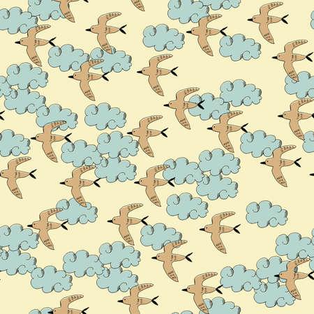 Seamless pattern of birds and clouds. Fabric design. Seamless wallpaper artwork.