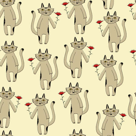 Seamless pattern of cats and flowers. Fabric design. Seamless wallpaper artwork.