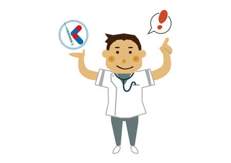 Illustration material of a male nurse. Illustration of occupation. Clip art of male nurse. A medical Illustration materials.