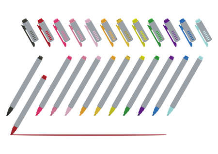 Stationery-a set of markers. Stationery illustration. highlighter.