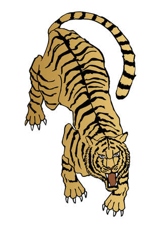 Illustration of a Japanese pattern tiger. Zodiac clip art.