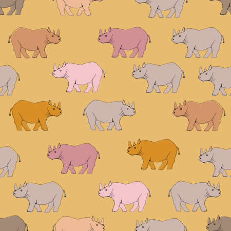 Rhino pattern. Seamless pattern. Material for wallpaper and wrapping paper. Textile design. Illustration