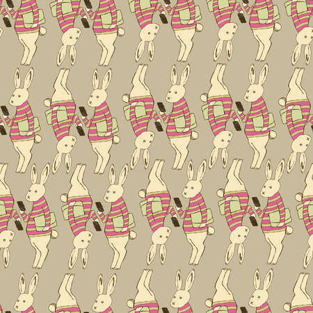Smartphone and rabbit pattern. Seamless pattern. Material for wallpaper and wrapping paper. Textile design.