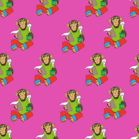 Chimpanzee pattern. Seamless pattern. Material for wallpaper and wrapping paper. Textile design.