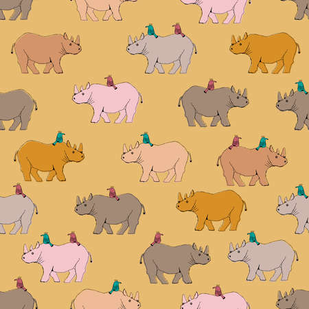 Rhino and bird patterns. Seamless pattern. Material for wallpaper and wrapping paper. Textile design.