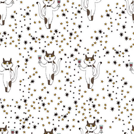 A pattern of cats toasting. Seamless pattern. Material for wallpaper and wrapping paper. Textile design.