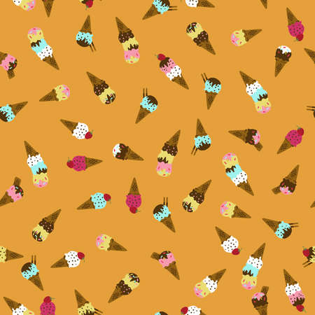 Ice cream pattern. Seamless pattern. Material for wallpaper and wrapping paper. Textile design. Illustration