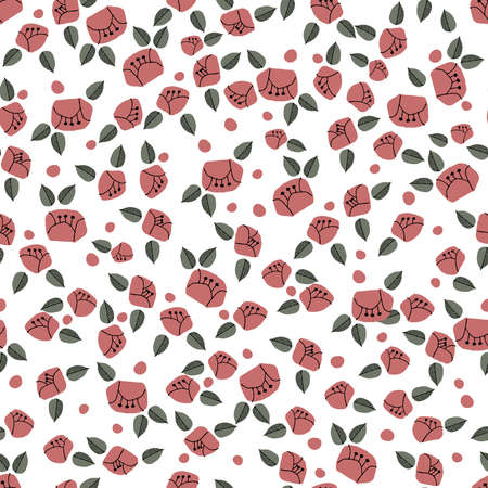 Wild rose pattern. Seamless pattern. Material for wallpaper and wrapping paper. Textile design. Illustration
