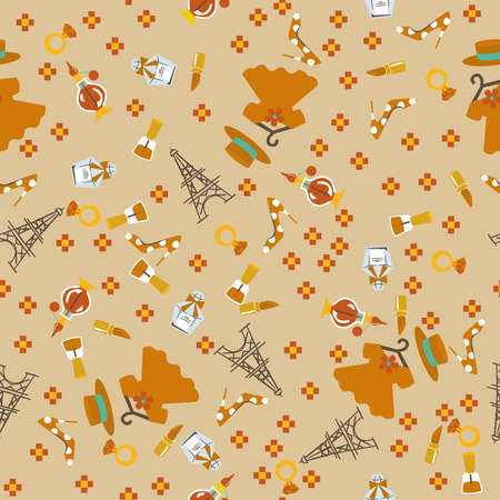 Paris accessory pattern. Seamless pattern. Material for wallpaper and wrapping paper. Textile design.