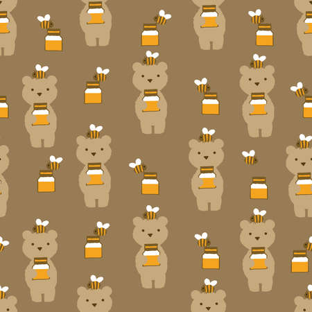 Teddy bear and honey pattern. Seamless pattern. Material for wallpaper and wrapping paper. Textile design.