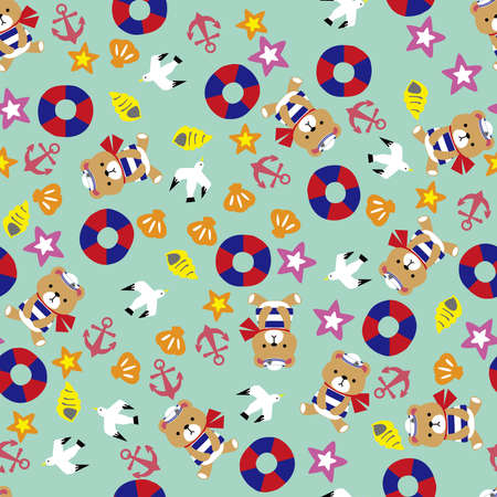 Sea and teddy bear pattern. Seamless pattern. Material for wallpaper and wrapping paper. Textile design.