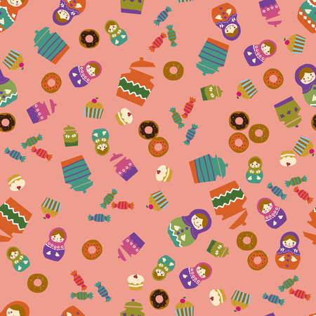 Matryoshka and sweets pattern. Seamless pattern. Material for wallpaper and wrapping paper. Textile design.