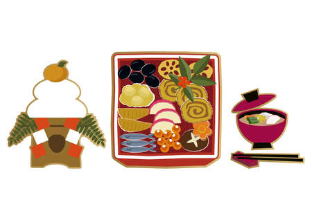 New Year material. Illustration of osechi dishes. New Year dishes. For Japanese New Year.