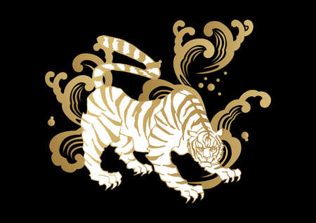 """An Illustration of Japanese pattern """"tiger�. A Zodiac clip art. For embroidery and stickers."""