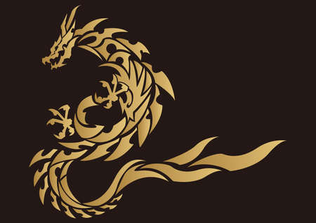 Tribal dragon. Tribal tattoo design. Material for stickers, embroidery and printing.