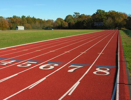 Running track at state university. 스톡 콘텐츠
