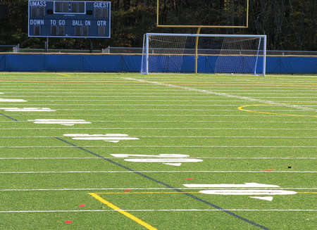 Empty Football Field at state university 스톡 콘텐츠