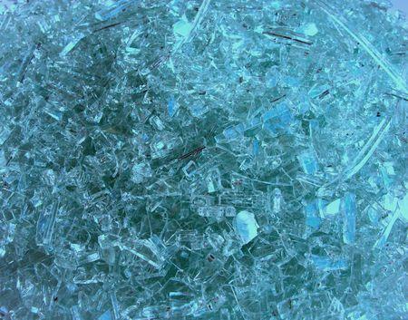 Blue tinted broken glass. Stock Photo - 279870