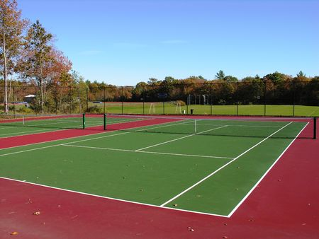 Empty Tennis courts at state university. 스톡 콘텐츠