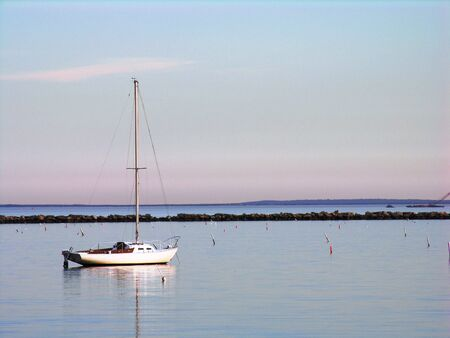 Sailboat in late afternoon.