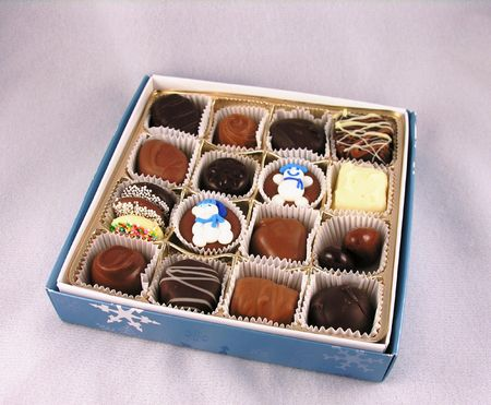 Chocolates and box. 스톡 콘텐츠
