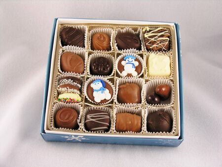 Various chocolates in a box.