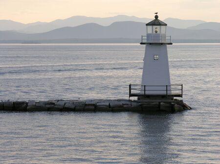 Lighthouse on Lake Champlain. 스톡 콘텐츠