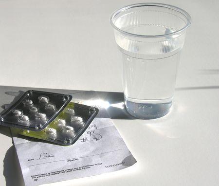 Prescription and water.