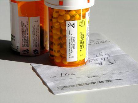 Prescription and pill bottles. 스톡 콘텐츠