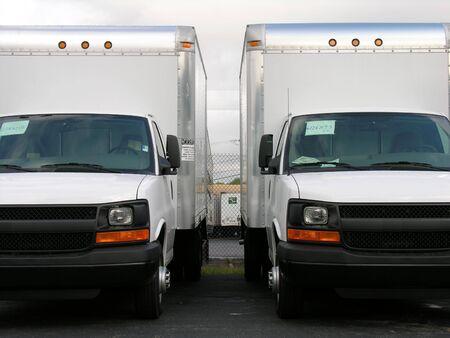 New work trucks. 스톡 콘텐츠