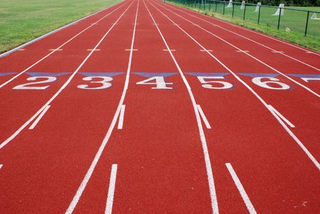 Running Track and numbered lanes photo