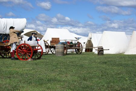 campsite: Revolutionary War reenactment campsite. Stock Photo