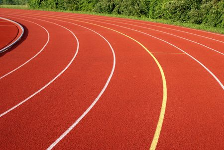 Curve lanes on a running track.