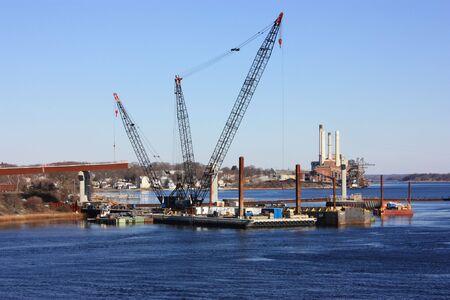 jobsite: Job-site of new bridge construction. Stock Photo