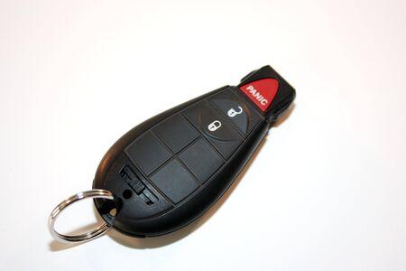 panic button: Chiave di accensione, sveglia, porta chiusa, con un pulsante di panico.