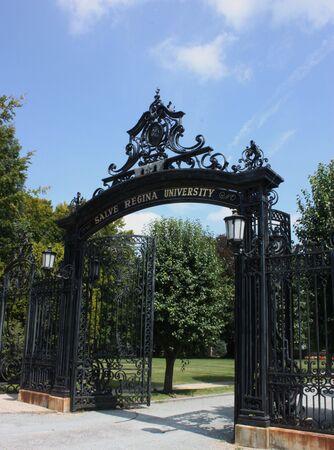 ri: A steel gate access to Salve Regina University Newport RI