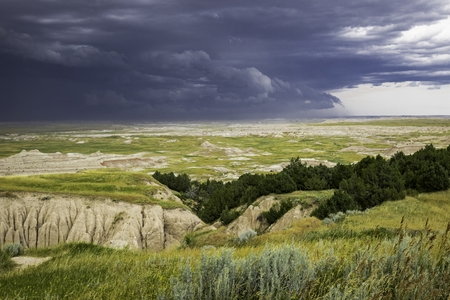 Approaching Storm Badlands south Dakota Stock Photo