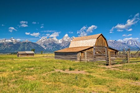 Mormon Style Barn and Cabin in Grand Tetons NAtional Park Stock Photo