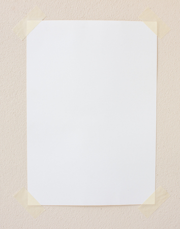 turning table: The white paper not on the wall Stock Photo