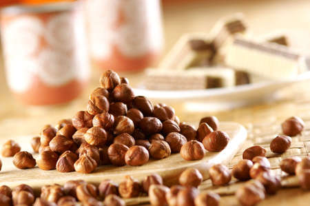 Hazelnuts on wooden desk