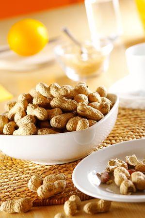 Peanuts in white dish