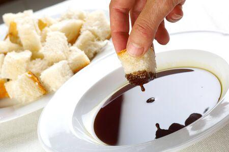 Degustation of fresh pumpkin oil Stock Photo