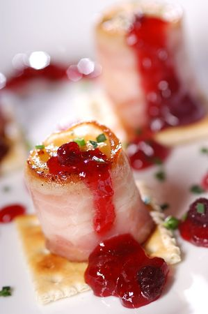Grilled banana with ham and redcurrant marmalade                            Stock Photo