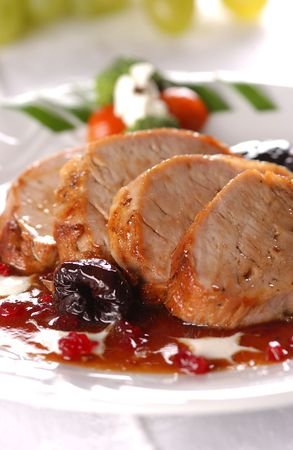 redcurrant:     Grilled pork meat with dry plum and redcurrant jam