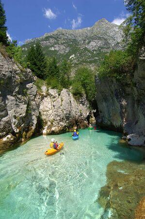 wil: Kayaking through river gorge Stock Photo