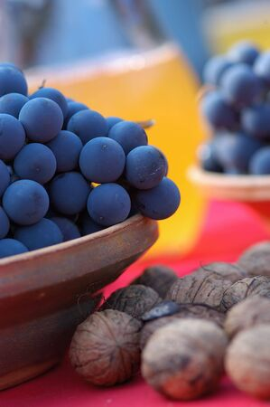 Blue grapes and chestnut