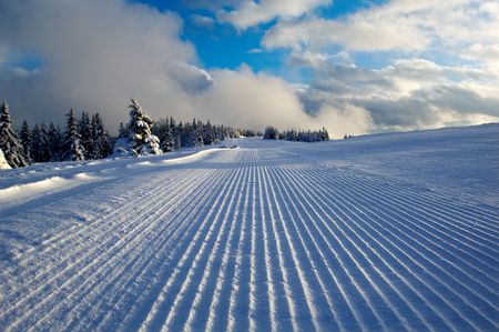 Ski piste ready for skiers